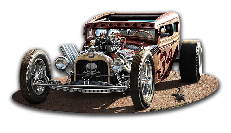 1930 Rat Rod Vintage Metal Sign, 17 By 8 by Vintage Sign Company item number: LG918