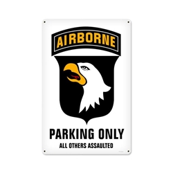 101St Airborne Parking Vintage Metal Sign, 12 By 18 by Vintage Sign Company item number: PTS502