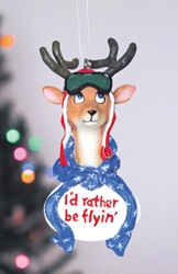 Id Rather Be Flying Raindeer Ornament, Born Aviation Aviation Gifts Item Number OR-DEER
