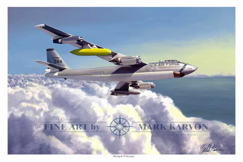 B-47E Stratojet of the 306th BW (Fine Art Print), Mark Karvon Aviation Art Item Number MKNB47E