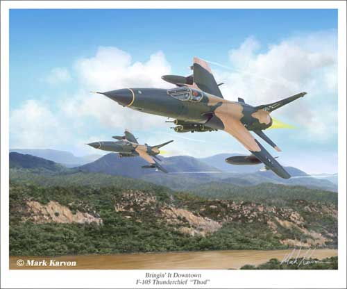 "F-105 Thunderchief ""Bringin' it Downtown"" (Fine Art Print), Mark Karvon Aviation Art Item Number MKNF105"