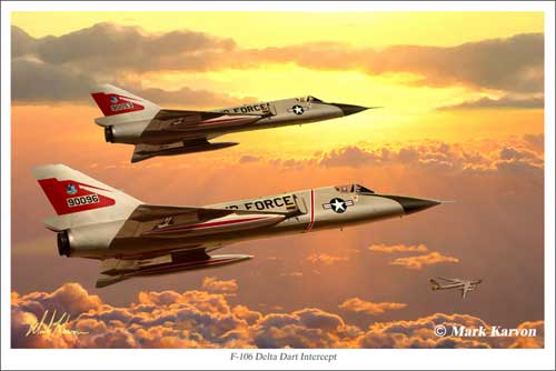 "F-106 Delta Dart ""Intercept"" (Fine Art Print), Mark Karvon Aviation Art Item Number MKNF106a"