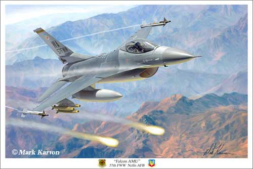 "F-16 Viper ""Falcon AMU"" (Fine Art Print), Mark Karvon Aviation Art Item Number MKNF16"
