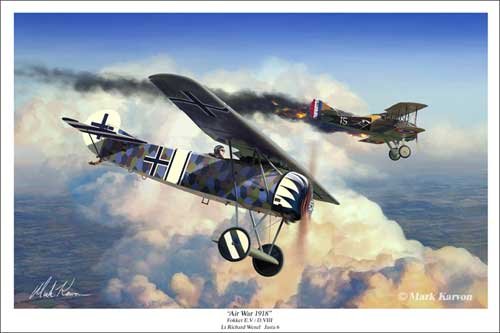 "Fokker E.V/D.VIII ""Air War 1918"" (Fine Art Print), Mark Karvon Aviation Art Item Number MKNFKR"