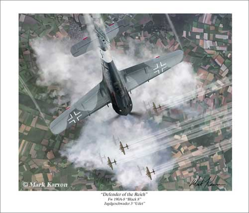 "FW 190A ""Defender of the Recih"" (Fine Art Print), Mark Karvon Aviation Art Item Number MKNFW190"