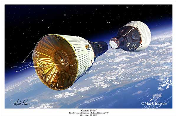 "Gemini Project ""Gemini Twins"" Rendezvous of Gemini VI-A and Gemini VII (Fine Art Print), Mark Karvon Aviation Art Item Number MKNGTWINS"