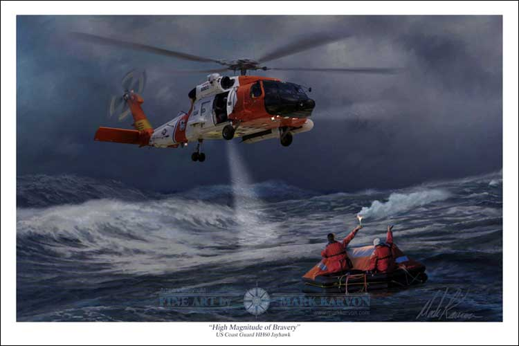 "HH-60 Jayhawk US Coast Guard ""High Magnitude of Bravery"" (Fine Art Print), Mark Karvon Aviation Art Item Number MKNHH60J"