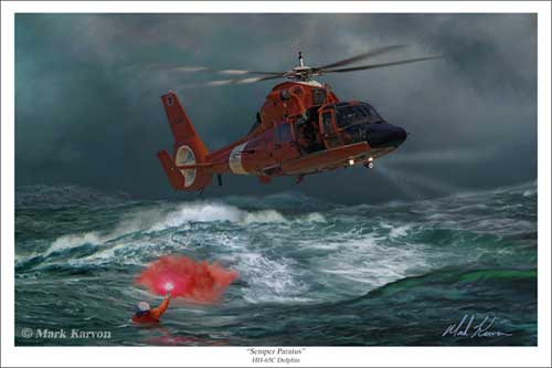 "HH-65C Dolphin ""Semper Paratus"" (Fine Art Print), Mark Karvon Aviation Art Item Number MKNHH65"