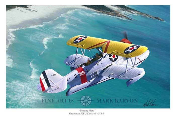 "J2F-2 Duck ""Unsung Hero"" (Fine Art Print), Mark Karvon Aviation Art Item Number MKNJ2F"