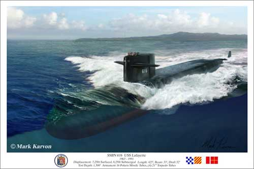 "USS Lafayette ""SSBN 616 USS Lafayette"" (Fine Art Print), Mark Karvon Aviation Art Item Number MKNLAF"
