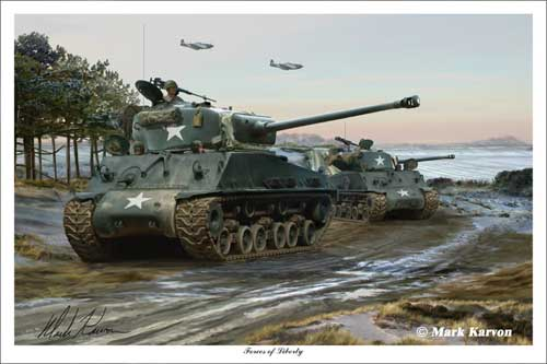 "M4A3E8 Sherman ""Forces of Liberty"" (Fine Art Print), Mark Karvon Aviation Art Item Number MKNM4A3"