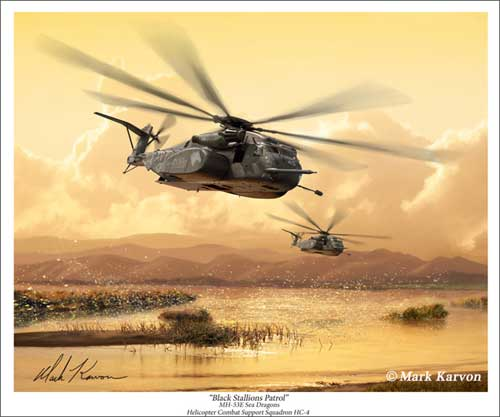"MH53E Sea Dragon ""Black Stallions Patrol"" (Fine Art Print), Mark Karvon Aviation Art Item Number MKNMH53"