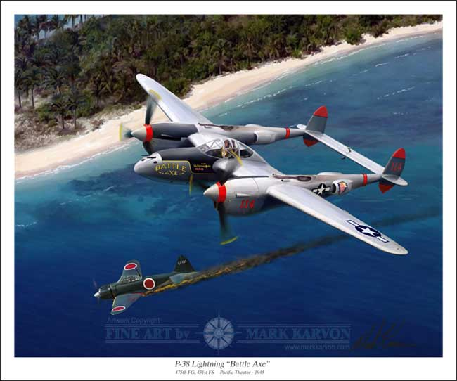 "P-38 Lighting - ""Battle Axe"" (Fine Art Print), Mark Karvon Aviation Art Item Number MKNP38"
