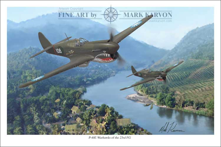 P-40 Warhawks of the 23rd FG (Fine Art Print), Mark Karvon Aviation Art Item Number MKNP40