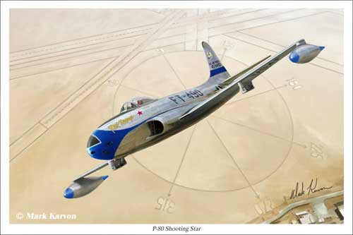 P-80 Shooting Star (Fine Art Print), Mark Karvon Aviation Art Item Number MKNP80