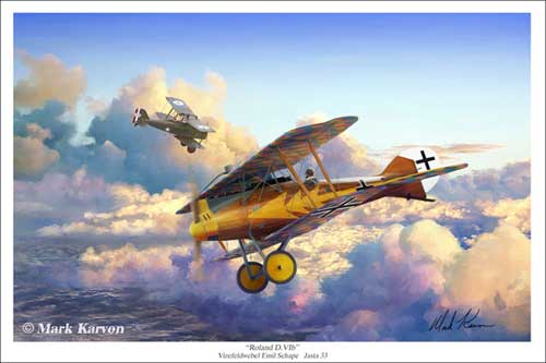 Roland D.VIb (Fine Art Print), Mark Karvon Aviation Art Item Number MKNROL