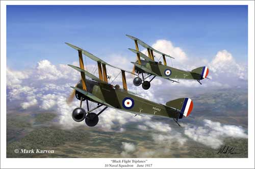 "Sopwith Triplane ""Black Flight Triplanes"" (Fine Art Print), Mark Karvon Aviation Art Item Number MKNSOP"
