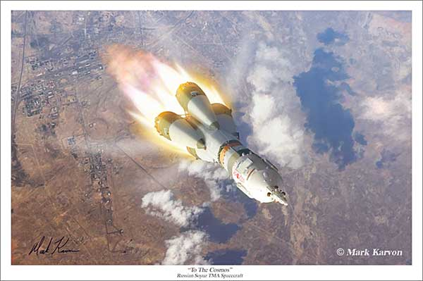 "Soyuz Spacecraft ""To The Cosmos"" (Fine Art Print), Mark Karvon Aviation Art Item Number MKNSOYUZ"