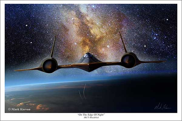 "SR-71 Blackbird ""On The Edge Of Night"" (Fine Art Print), Mark Karvon Aviation Art Item Number MKNSR71EDGE"