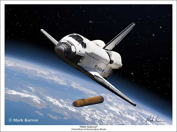 "Space Shuttle ""Orbit Achieved"" (Fine Art Print), Mark Karvon Aviation Art Item Number MKNSSORBIT"