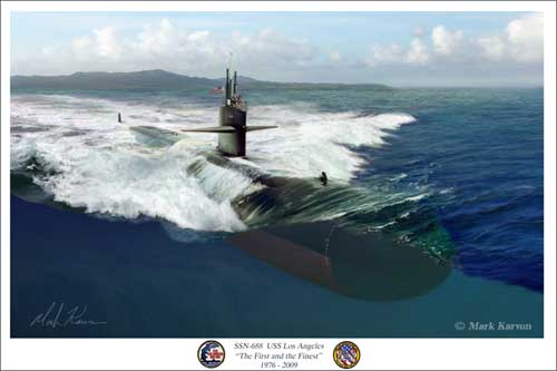"USS Los Angeles ""SSN 688 USS Los Angeles"" (Fine Art Print), Mark Karvon Aviation Art Item Number MKNUSSLA"