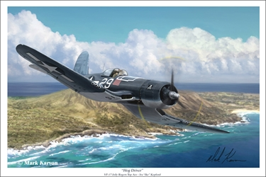 "F4U Corsair ""Hog Driver"" VF-17 Top Ace Ike Kepford (Fine Art Print), Mark Karvon Aviation Art Item Number MKNVF17a"