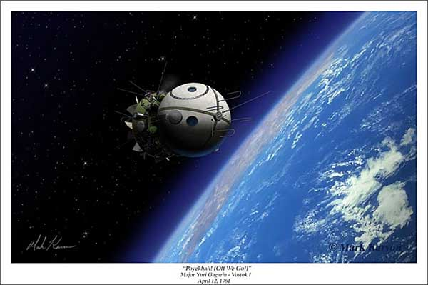 "Vostok I Spacecraft ""Poyekhali! (Off We Go!)"" (Fine Art Print), Mark Karvon Aviation Art Item Number MKNVOSTOK"