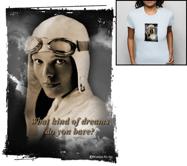 Amelia Earhart: Dream - White Shirt, Women Fly Item Number TS-WFAEDW