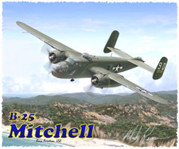 B-25 Mitchell T-Shirt  - Design by Aviation Artist Mark Karvon, Born Aviation Aviation Gifts Item Number TSK-B25