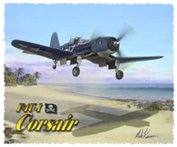 F4U T-Shirt  - Design by Aviation Artist Mark Karvon, Born Aviation Aviation Gifts Item Number TSK-F4U