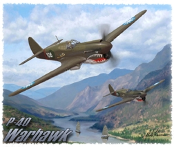 P-40 T-Shirt  - Design by Aviation Artist Mark Karvon, Born Aviation Aviation Gifts Item Number TSK-P40