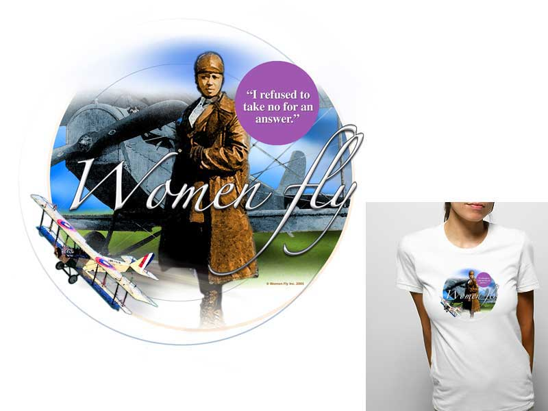 Bessie Coleman T-shirt, Women Fly Item Number TS-WFCOLEMAN