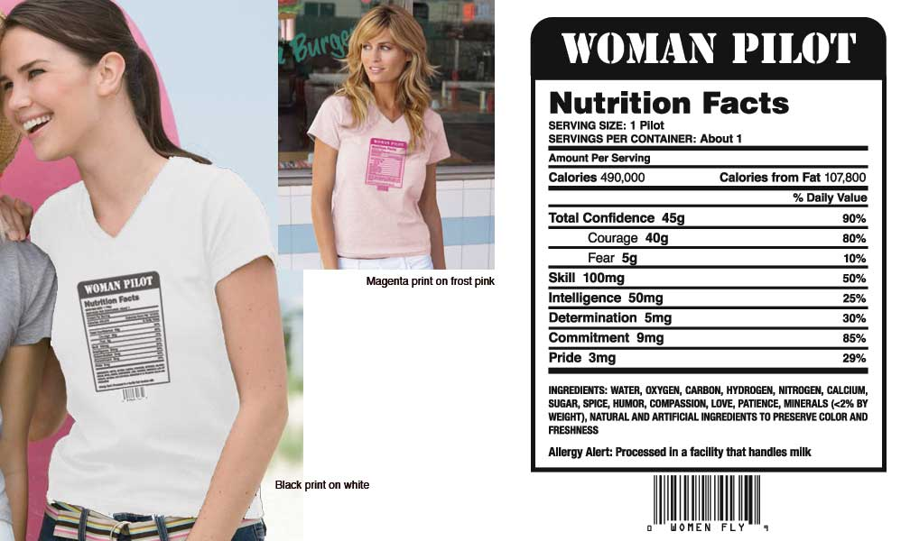 Woman Pilot Nutrition Facts T-shirt, Women Fly Item Number TS-WFNUTRI