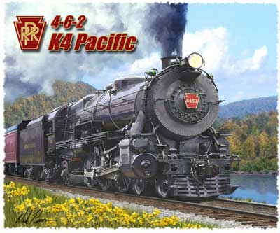 PRR 4-6-2 K4 Pacific Rail T-shirt  - Design by Aviation Artist Mark Karvon, Born Aviation Aviation Gifts Item Number TSK-K4
