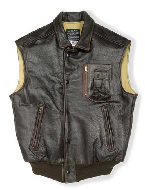 Stearman Leather Vest (USA)Medium, Brown - Clearance Item, Cockpit/Avirex Leather Jackets Item Number Z2129V-BR-MED