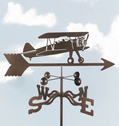 Biplane Airplane Weathervane, EZ Vane Weather Vanes Item Number EZVBiWing