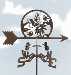 Butterfly & Flowers Weathervane, EZ Vane Weather Vanes Item Number EZVBUTTERFLY
