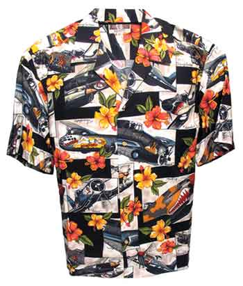 Black Hibiscus Hawaiian Aloha Shirt, Pilotwear Item Number HS-BK