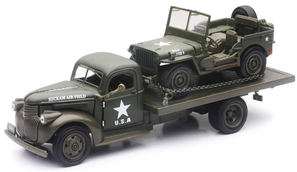 Wild Hunting Dually Pickup Diecast w//Trailer Camping Fishing Play Set New-Ray RD