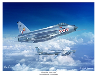 "English Electric Lightning F.6 - ""Front Line Interceptor"" by Mark Karvon Aviation Art Item Number: MKNEELF6"