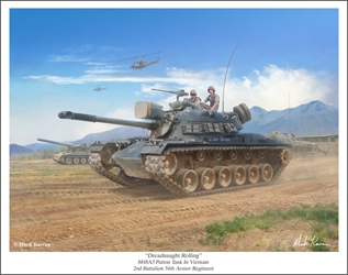 "M48A3 Patton Tank - ""Dreadnaughts Rolling"" by Mark Karvon Aviation Art Item Number: MKNM48A3"