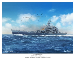 "USS North Carolina BB 55 - ""The Show Boat"" by Mark Karvon Aviation Art Item Number: MKNNCBB55"