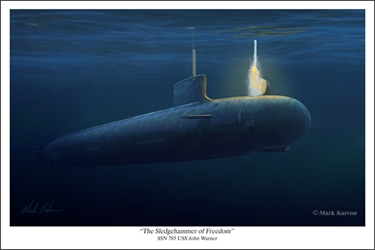 "Virginia Class Submarine USS John Warner SSN 785 - ""Sledgehammer Of Freedom"" by Mark Karvon Aviation Art Item Number: MKNSSN785"