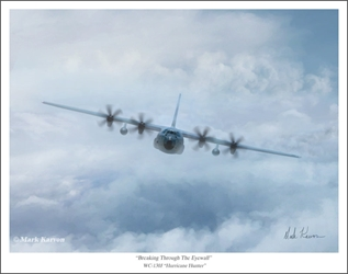 "WC-130J Hurricane Hunter - ""Breaking Through The Eyewall"" by Mark Karvon Aviation Art Item Number: MKN130HH"