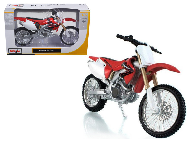 Honda CRF 450R White/Red Motorcycle 1/12 Diecast Model by Maisto, Maisto Item Number MST31104R/W