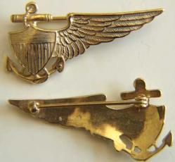 Navy Balloon Pilot Wing in Sterling w Gold, Weingarten Gallery Item Number P-1193