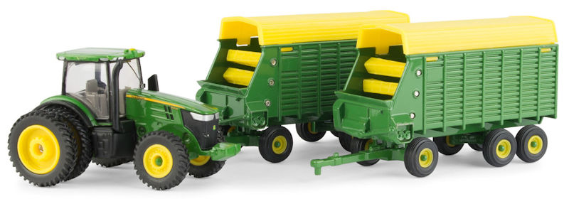 John Deere 7290R Tractor with Two Forage Wagons 1:64 - LP70546 by ERTL Item Number ERTL45684