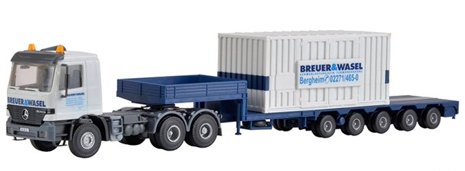 Breuer & Wasel - Mercedes-Benz Actros Truck with Step Deck Trailer and Breuer & Wasel Container (1:87 / HO) by Kibri
