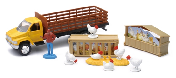 Country Life Chicken Transport Playset Playset Includes: Farmer, NewRay Item Number NR04086-C