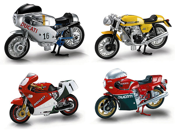 Ducati Motorcycle 4-Piece SET SET Includes: 1979 Ducati (1:32), NewRay Item Number NR06037-SET-C
